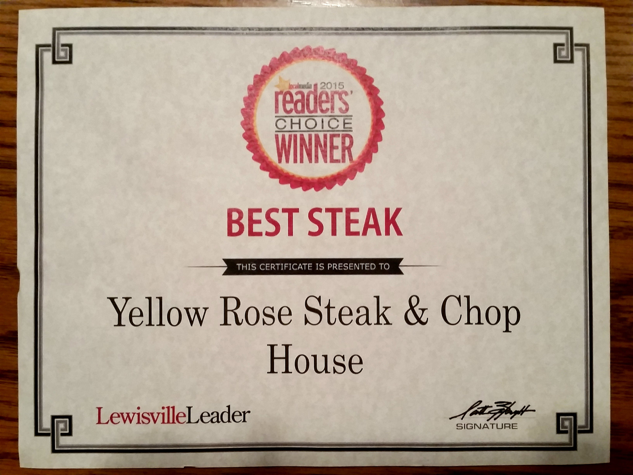 Star Local Media Best Of 2015 Yellow Rose Steak Chop House