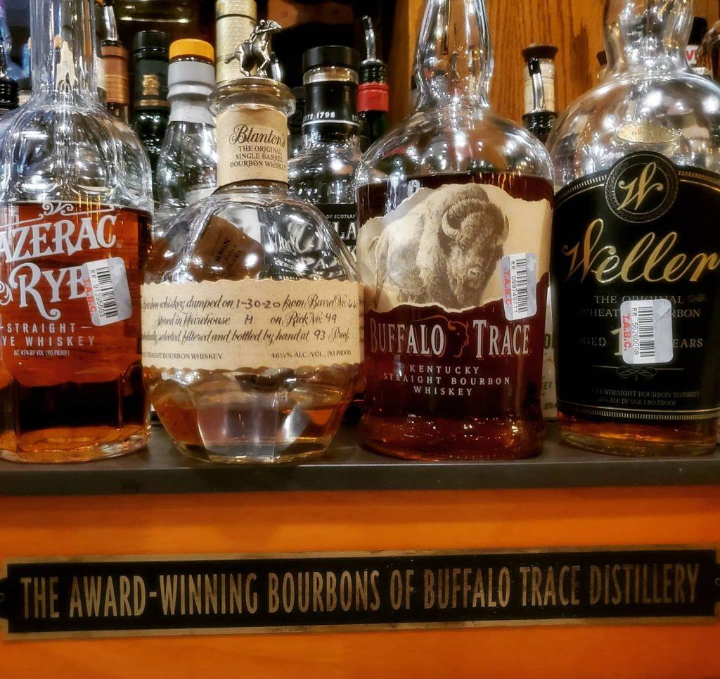 Blantons, Weller 12, Buffalo Trace, and Sazerac Rye